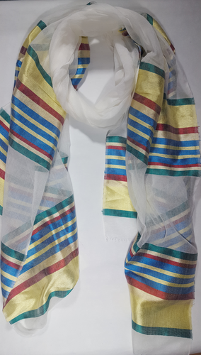 Handwoven Cotton Scarf - SABA - Yellow/Multi-color Stripes
