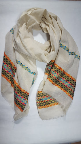 Handwoven Cotton Scarf - Orange Multi-color with Off-White