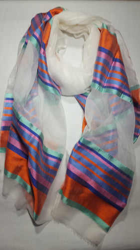Handwoven Cotton Scarf - SABA - Orange/Multi-color Stripes