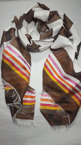 Handwoven Cotton Scarf  - Brown and White Stripes