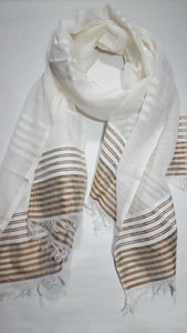 Handwoven Cotton Scarf  - Brown