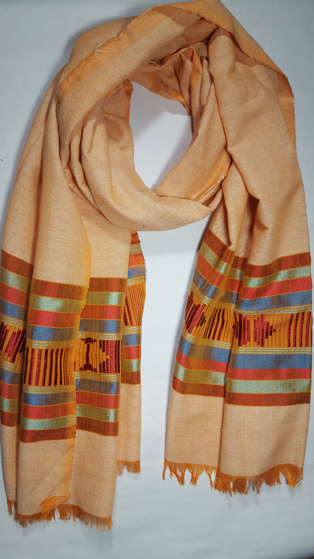 Handwoven Cotton Scarf - Shades of Peach