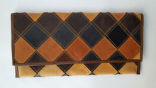 Load image into Gallery viewer, Long Multi-color Leather Patchwork Clutch Purse/Wallet (BY)