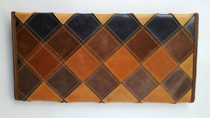 Long Multi-color Leather Patchwork Clutch Purse/Wallet (BY)
