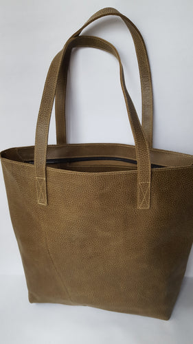 Dark Olive Green Leather Tote with Zipper