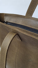 Load image into Gallery viewer, Dark Olive Green Leather Tote with Zipper
