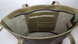Olive Green Leather Tote