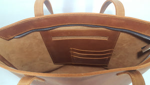 Tan Leather Zipper Tote