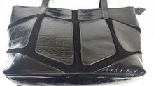Load image into Gallery viewer, Black Patent and Suede Leather Shoulder Bag