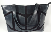 Load image into Gallery viewer, Dark Gray Leather and Suede Shoulder Bag