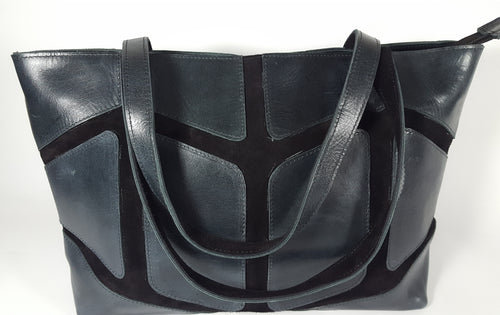 Dark Gray Leather and Suede Shoulder Bag