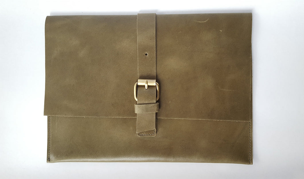 Olive Green Soft Leather Clutch