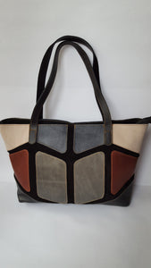 Multicolor Leather & Suede Bag