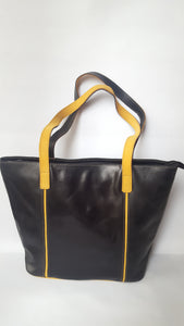 Black Leather Bag with Yellow Strap