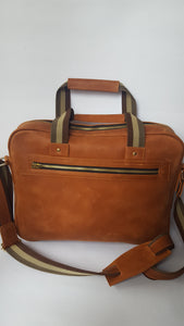 Tan Leather Laptop Briefcase