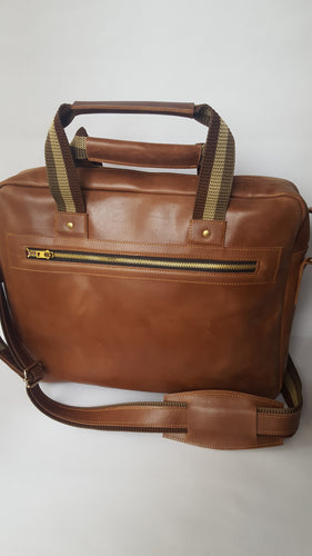 Dark Brown Leather Laptop Briefcase