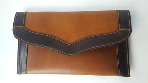 Multi-functional Brown Leather Flap Wallet