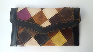 Checkmate Multi-color Leather Patchwork Flap Wallet (P)