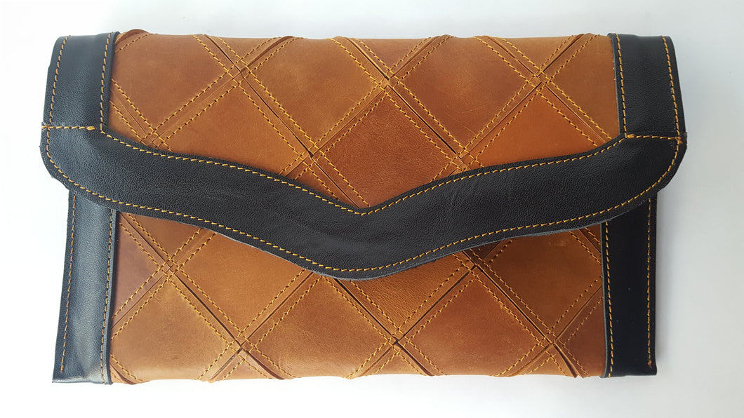 Checkmate Tan Leather Patchwork Flap Wallet