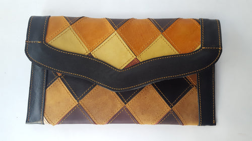 Checkmate Multi-color Leather Patchwork Flap Wallet (B)