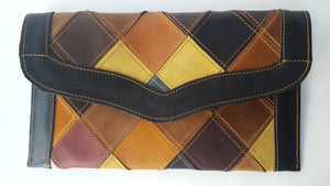 Checkmate Multi-color Leather Patchwork Flap Wallet  (Y)