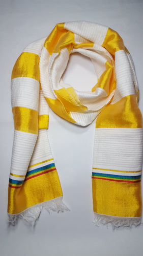 Handwoven Cotton Scarf  - Yellow and White Stripes