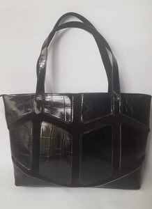 Black Patent and Suede Leather Shoulder Bag