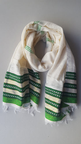 Handwoven Cotton Scarf - Green