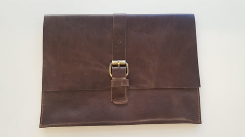 Dark Brown Soft Leather Clutch