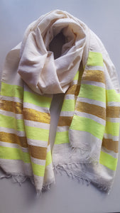 Handwoven Cotton Scarf - Neon Green and Golden Stripes