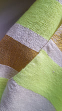 Load image into Gallery viewer, Handwoven Cotton Scarf - Neon Green and Golden Stripes