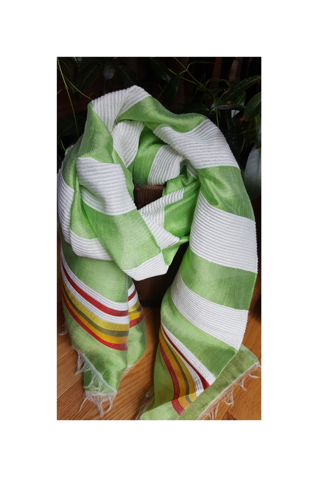 Handwoven Cotton Scarf - Lime Green and White Stripes