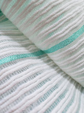 Load image into Gallery viewer, Handwoven Cotton Scarf - Light Turquoise Blue with White Stripes