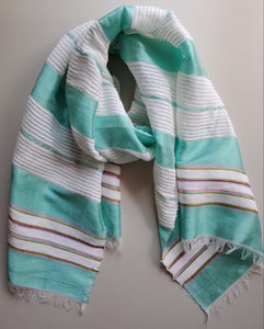 Handwoven Cotton Scarf - Light Turquoise Blue with White Stripes