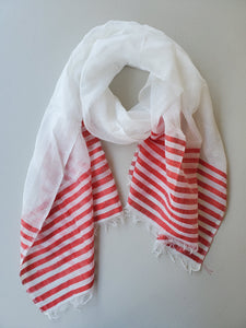Handwoven Cotton Scarf - Summer Collection (Teal, Red, Yellow)