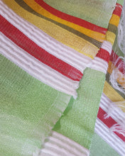 Load image into Gallery viewer, Handwoven Cotton Scarf - Lime Green and White Stripes