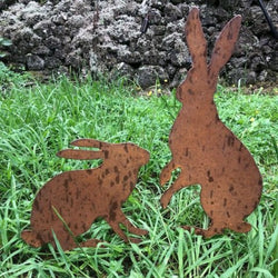 Rustic Iron Sculpture - Pair of Hares ( up to 51cm tall )