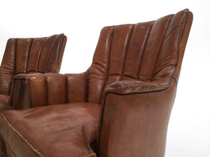 "FRENCH LEATHER BASEBALL CHAIRS ""ON HOLD"""
