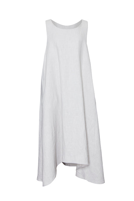 Silver Linen Sleeveless Dress