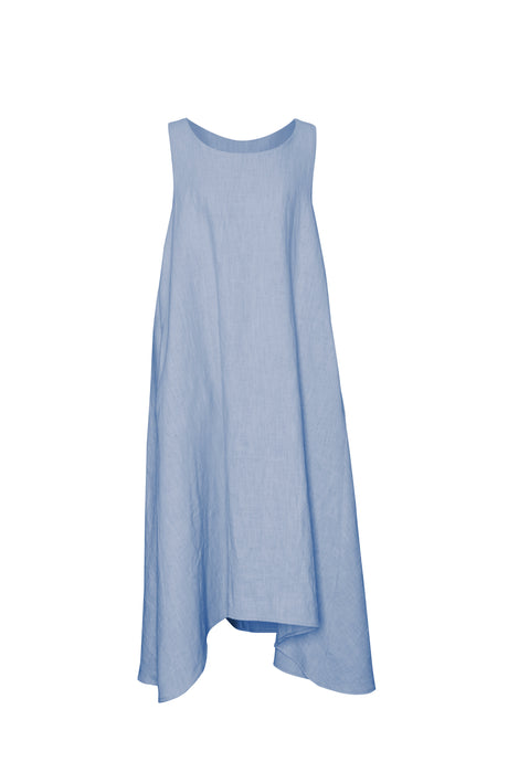 Sky Linen Sleeveless Dress