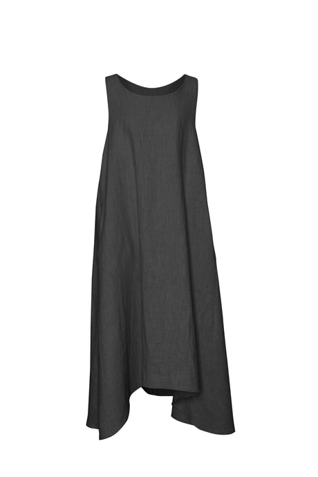 Black Linen Sleeveless Dress