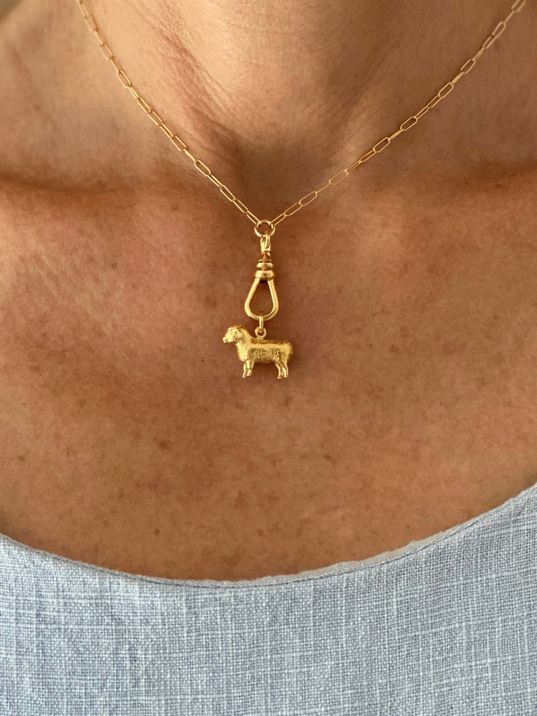 "SHEEP CHARM NECKLACE WITH 18"" EXTENSION"