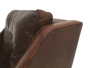 MOGENSEN LOW BROWN LEATHER CHAIR