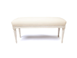 SWEDISH GREY CUSHIONED BENCH