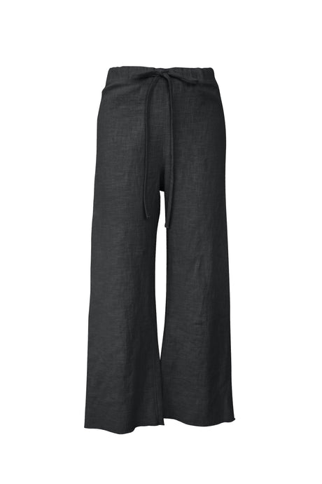 Black Raw Edge Linen Pant