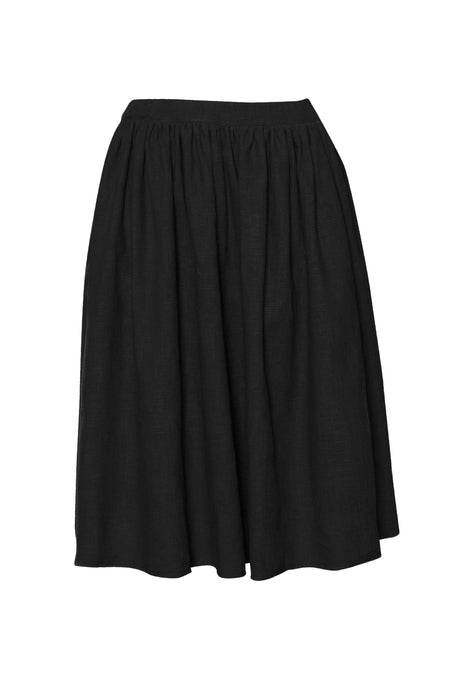 Black Raw Edge Linen Skirt