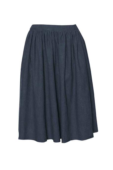 Indigo  Raw Edge Linen Skirt