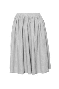 Silver Raw Edge Linen Skirt