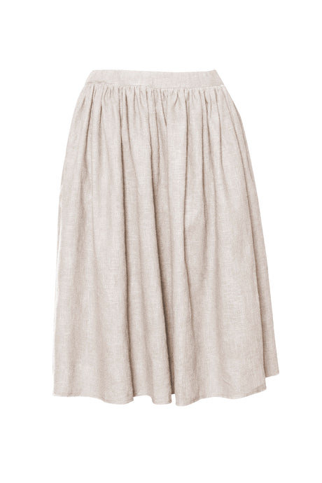 Natural Raw Edge Linen Skirt