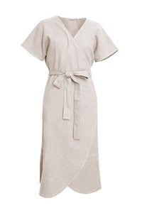 GIANNETTI NATURAL LINEN WRAP DRESS